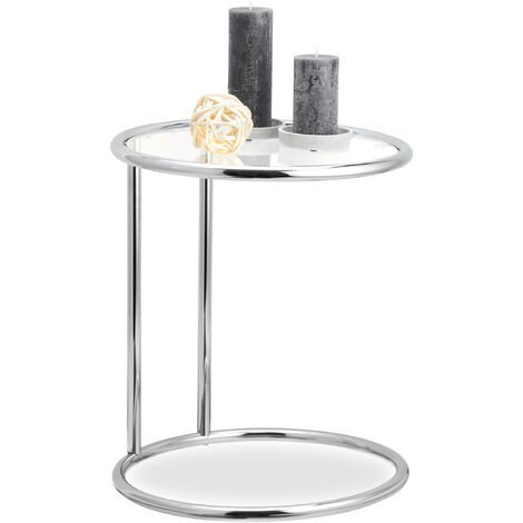 Relaxdays Round Side Table, Metal Frame, Glass Tabletop, Living Room, Decorative, Designer Stand, HxD 53 x 45 cm, Silver