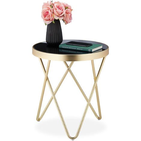 Relaxdays Round Side Table, Trendy Coffee Stand, Metal & Glass, Shiny, Retro Design, HxD: 46x42 cm, Black-Gold