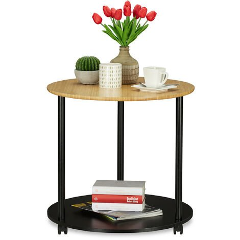Relaxdays Round Side Table, With Castors, Rolls, Modern Design, Bamboo, End Table For Living room, HxD: 59x60 cm, Black/Natural