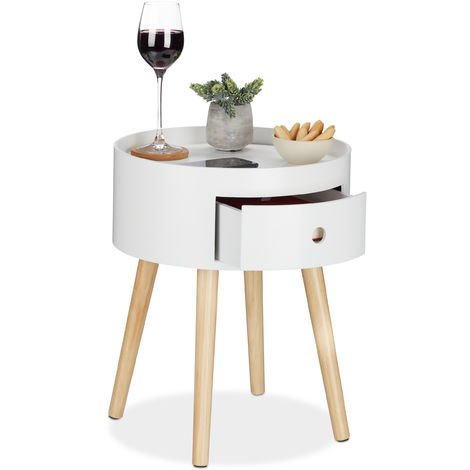 Relaxdays Round Side Table with Drawer, Wooden Legs, Scandinavian Design, Minimalistic, HxD 46 x 38 cm, White/Natural