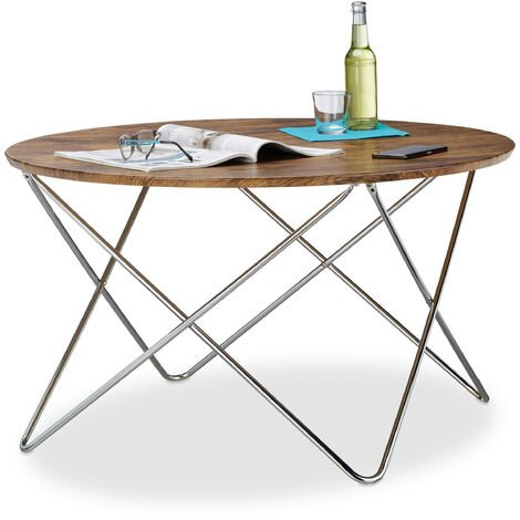 Relaxdays Round Side Table, Wooden Coffee Table in Vintage Look with Curved Metal Leg, Living Room End Table, 50x90x90 cm, Low, Brown