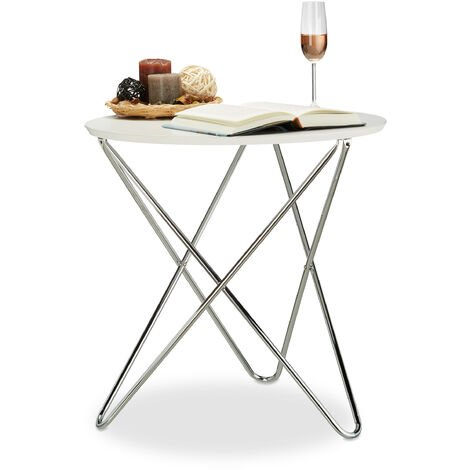 Relaxdays Round Side Table, Wooden Coffee Table with Curved Metal Legs, Living Room End Table, Small, 59x60x60cm, Low, White