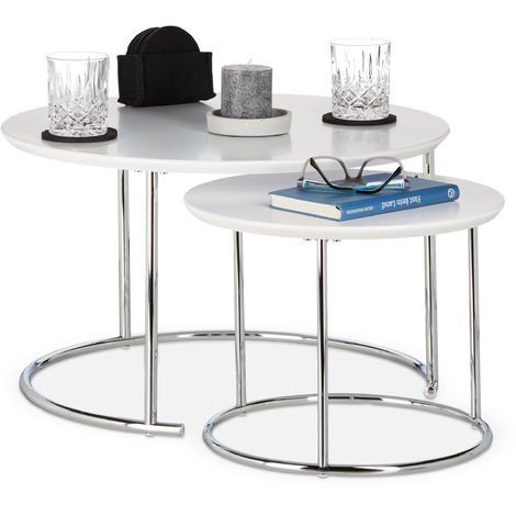 Relaxdays Round Side Tables Set of 2, Small Matt Coffee Table, Nesting Tables, Wood and Metal, Chromed, 60x60 cm, White