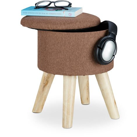 Relaxdays Round Stool with Storage Space, Padded, Removable Lid, Wooden Legs, HxWxD: 36 x 31.5 x 31.5 cm, Brown