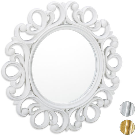Relaxdays Round Wall Mirror, Decoration for Hallway, Bathroom, Living Room & Bedroom, Frame, Ornament, ∅ 50 cm, White