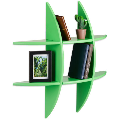 Relaxdays Round Wall Shelf with 6 Compartments, Floating Shelf, Decorative Spice Rack, CD Shelf, Bookcase, Green