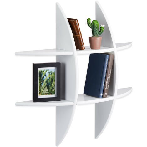 Relaxdays Round Wall Shelf with 6 Compartments, Floating Shelf, Decorative Spice Rack, CD Shelf, Bookcase, White