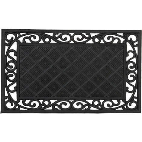 Relaxdays Rubber Anti-Slip Doormat with Floral Pattern in Cast Iron-Look Welcome Mat with Weather-Proof Rubber Size: 1 x 75 x 45 cm, Black