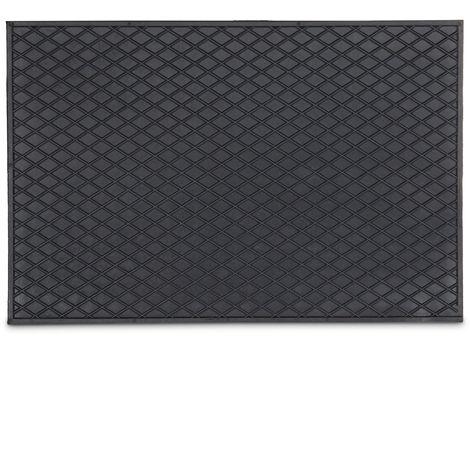 Relaxdays Rubber Doormat 60 x 40 cm Floor Mat made of 100% Rubber Anti-Slip Welcome Mat for Indoor & Outdoor Use, Door Mat Rubber Mat, Black