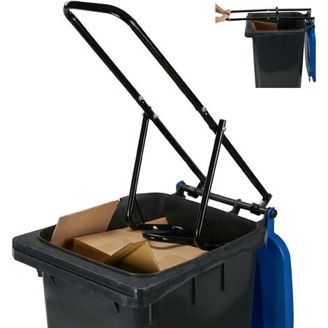 Relaxdays Rubbish Press For Wheelie Bins, Household Trash Can Press, Manual, Recycle Bin Compactor, Steel, Black