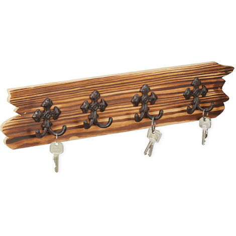 Relaxdays Rustic Hallway Coat Rack with 8 Hooks, 15.5 x 56 x 3.5 cm, Wood & Cast Iron, Mounted, Brown