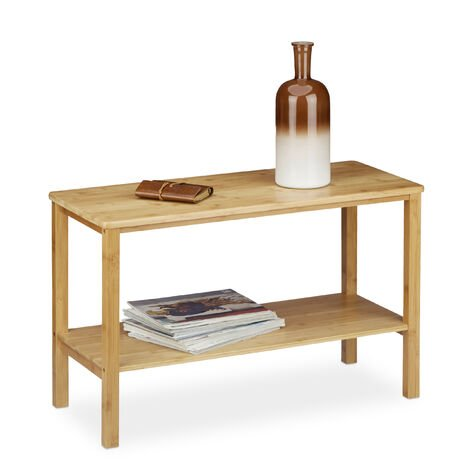 Relaxdays RUSTICO Bamboo Coffee Table, Rectangular, Flat, 2 Shelves, Surface with Storage Room, HWD: ca 50 x 80 x 34 cm, Natural Brown