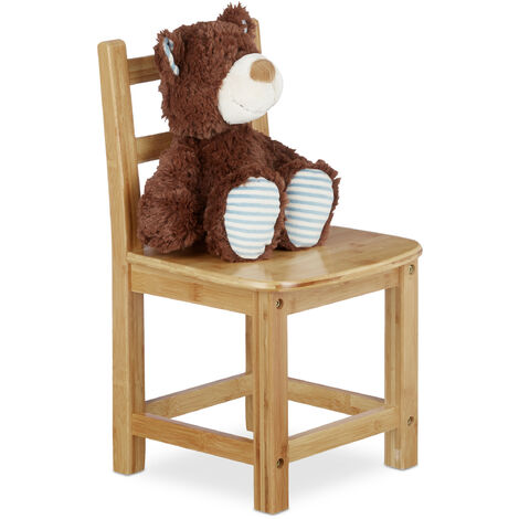 Relaxdays RUSTICO Bamboo Kids Chair, For Boy and Girls, Children's Seat, HxWxD: ca 50 x 28.5 x 28 cm, Brown