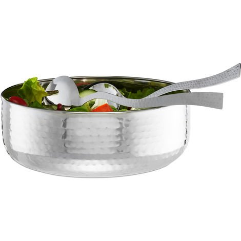 Relaxdays Salad Bowl Set with Servers 30cm, 3-Piece, Stainless Steel, Dishwasher-safe, Elegant, Round ∅ 28 cm, Silver