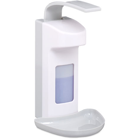 Relaxdays Sanitizer Dispenser with Drip Tray, Hygienic Wall Container, Disinfectant, Arm Lever, 500 ml, White