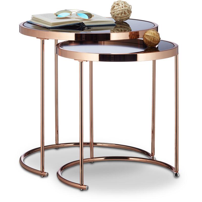 Relaxdays - Satztische rund, verchromt, 2er Set, modernes Design - Schwarzglas, Couchtisch Metall, Beistelltische, kupfer