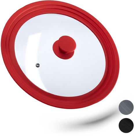 Relaxdays Saucepan Lid Universal, Glass Cover, Stepped Silicone Rim, Pots & Pans 26-30 cm, 5 x 31.5 cm, Red