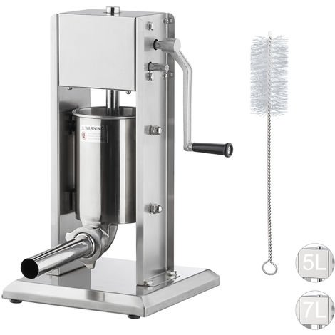 Relaxdays Sausage Maker 3 Litre, Grade 304 Stainless Steel, Manual, Incl. 5 Nozzles, Gastronomic Sausage Filler, Diff. Sizes, Silver