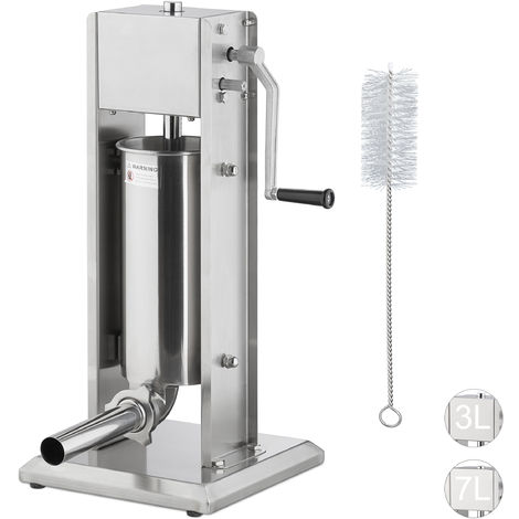 Relaxdays Sausage Maker 5 Litre, Grade 304 Stainless Steel, Manual, Incl. 5 Nozzles, Gastronomic Sausage Filler, Diff. Sizes, Silver