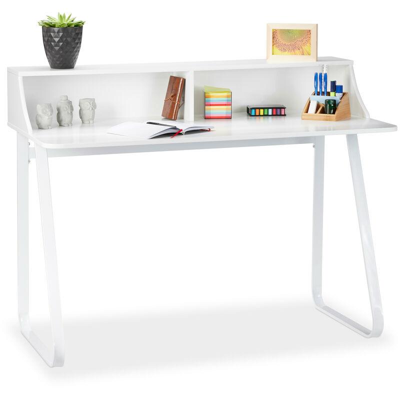 Schreibtisch Weiß, Bürotisch mit Fächern & Ablage, Computertisch aus Metall & MDF, HBT 92 x 120 x 60 cm, white - RELAXDAYS