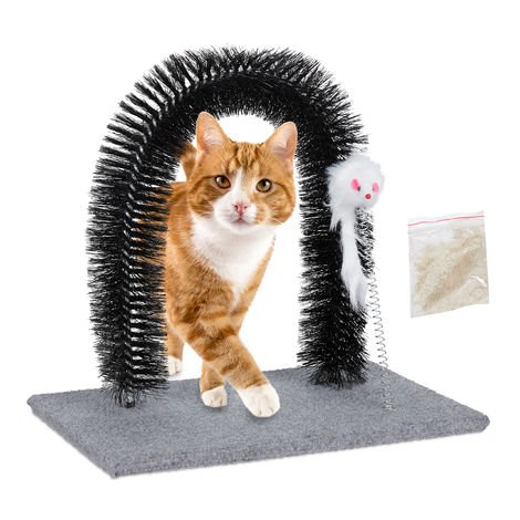 Relaxdays Scratching Arch for Cats, Deshedding Massage & Fur Care Stand, with Catnip and Toy Mouse, Grey