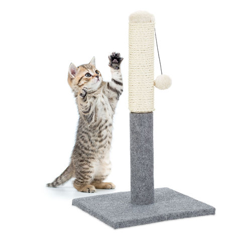 Relaxdays Scratching Post, Scratcher Column for Cats, Freestanding, With Sisal Post & Ball, Indoor, H: 54 cm, Grey