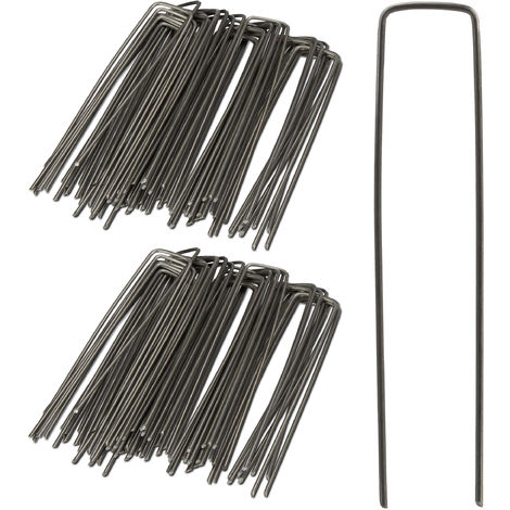 Relaxdays Securing Pegs, Set of 100, Bevelled Tips, Drive Into the Ground, Weed Control, 15 cm Long, 3 mm Ø, Steel, Silver