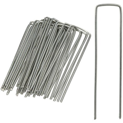 Relaxdays Securing Pegs Set of 25, Stainless, Bevelled Tips, Drive In, 15 cm Long, Galvanized Steel, Silver