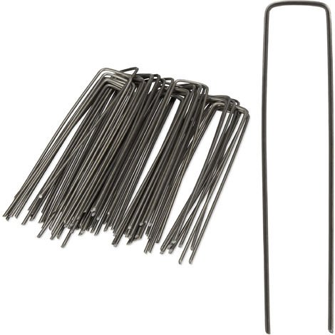 Relaxdays Securing Pegs, Set of 50, Bevelled Tips, Drive Into the Ground, Weed Control, 15 cm Long, 2 mm Ø, Steel, Silver