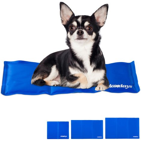 Relaxdays Self-Cooling Dog Mat, Wipeable, Gel Pad, Blanket for Animals, 20 x 35 cm, Blue