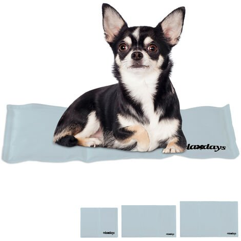 Relaxdays Self-Cooling Dog Mat, Wipeable, Gel Pad, Blanket for Animals, 20 x 35 cm, Grey