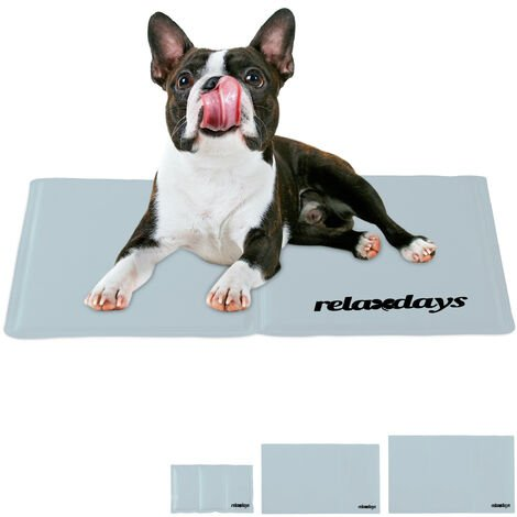 Relaxdays Self-Cooling Dog Mat, Wipeable, Gel Pad, Blanket for Animals, 40 x 50 cm, Grey