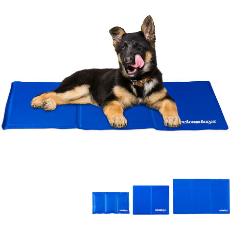 Relaxdays Self-Cooling Dog Mat, Wipeable, Gel Pad, Blanket for Animals, 50 x 90 cm, Blue
