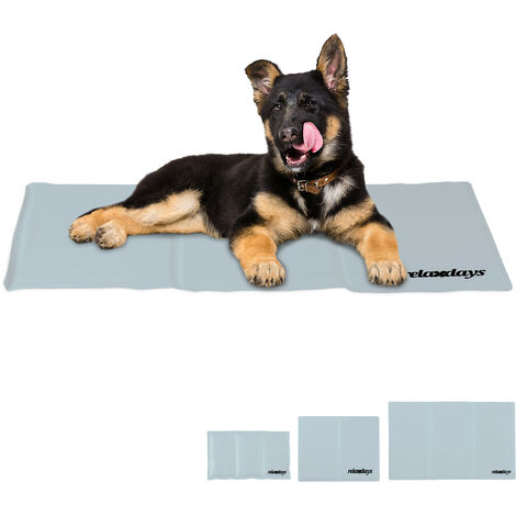 Relaxdays Self-Cooling Dog Mat, Wipeable, Gel Pad, Blanket for Animals, 50 x 90 cm, Grey