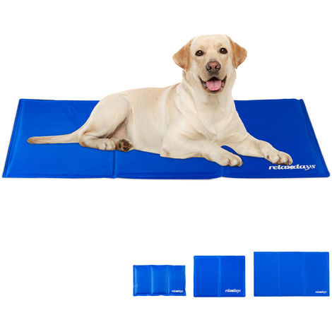 Relaxdays Self-Cooling Dog Mat, Wipeable, Gel Pad, Blanket for Animals, 60 x 100 cm, Blue