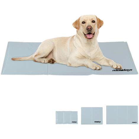 Relaxdays Self-Cooling Dog Mat, Wipeable, Gel Pad, Blanket for Animals, 60 x 100 cm, Grey