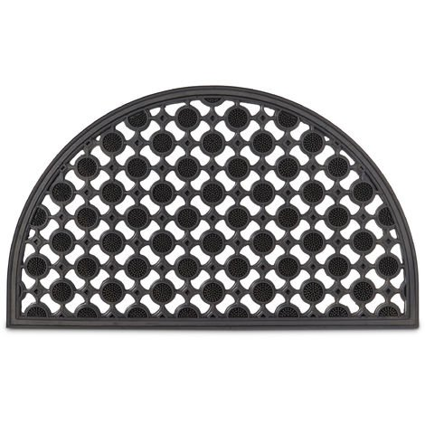 Relaxdays Semi-Circle Round Doormat made of Rubber Anti-Slip & Weather-Proof from Rain and Snow Floor Mat for Hallway, Balcony, Patio, Veranda Doorways, Half-Moon Black