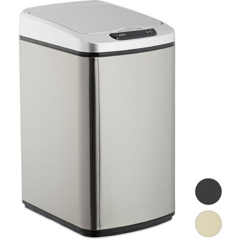 Relaxdays Sensor Bin 12L, Square Trash Can With Lid & Bucket, Kitchen & Bath, Automatic Waste Collection, Silver
