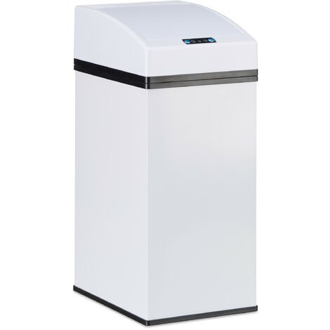 Relaxdays Sensor Waste Bin, Automatic Lid, Liner Bucket with Handle, Hygienic, Steel, HWD 35 x 15 x 20 cm, White