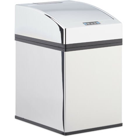 Relaxdays Sensor Waste Bin, Stainless Steel, Trash Can, Automatic Lid, Liner, Hygienic, Battery-Operated, 5L, 25x15x20cm, Silver
