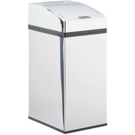 Relaxdays Sensor Waste Bin, Stainless Steel, Trash Can, Automatic Lid, Liner, Hygienic, Battery-Operated, 7L, 35x15x20cm, Silver