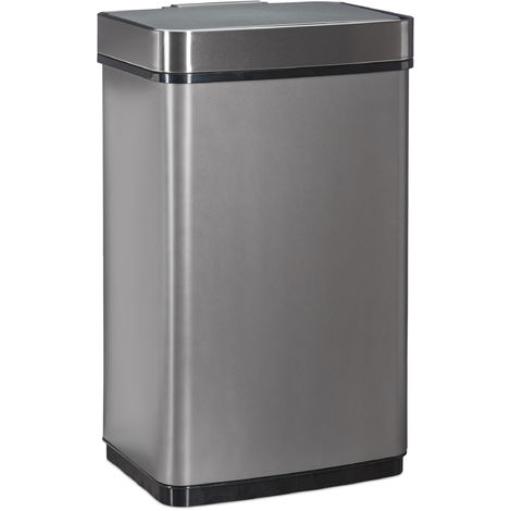 Relaxdays Sensor Waster Bin, 60 L Trash Can, Stainless Steel Kitchen Garbage Pail with Motion Sensor, Battery-Operated, Grey