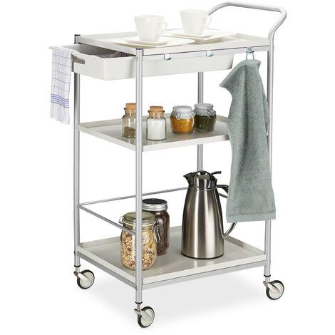 Servierwagen Stahl, ausziehbare Schublade, 360° drehbare Rollen, Küchenwagen, HxBxT: 95x56x38 cm, weiß/grau