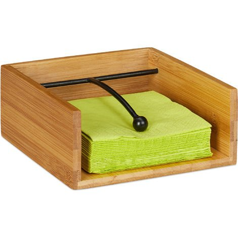 Relaxdays Serviette Holder with Metal Weight Ball, Bamboo, for Napkin Size 25 x 25 cm, Napkin Tray, Natural
