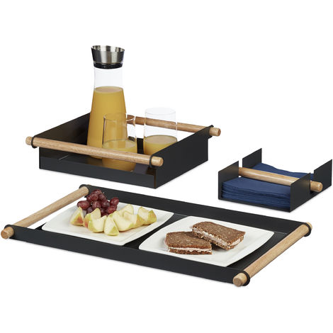 Relaxdays Serving Tray Set, 3-Pieces, Metal, Wooden Handles, 2 Trays & 1 Napkin Holder, Different Sizes, Grey