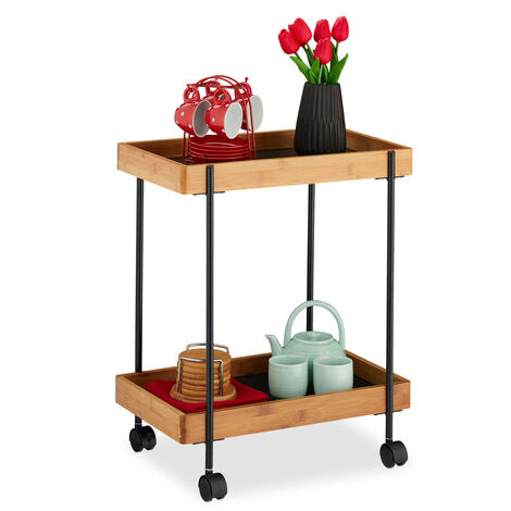 Relaxdays Serving Trolley, Tea Station with 2 Tiers, Bamboo & Iron, Side Table on Casters, 57x46x28 cm, Natural/Black