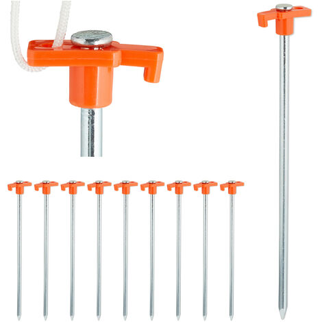 Relaxdays Set of 10 Heavy Duty Tent Pegs, Hard Ground Anchors, 25 cm, Steel Ground Stakes, Camping Accessory, Galvanized Steel, Orange