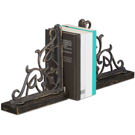 Relaxdays Set of 2 Bookends, Cast Iron with Wooden Base, Large and Heavy, Decorative Antique Style, HxWxD: ca 21.5 x 6.5 x 20 cm, Bronze