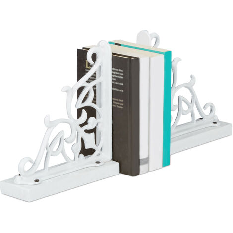 Relaxdays Set of 2 Bookends, Cast Iron with Wooden Base, Large and Heavy, Decorative Antique Style, HxWxD: ca 21.5 x 6.5 x 20 cm, White