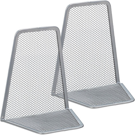 Relaxdays Set of 2 Bookends, Supports for Books, CDs, DVDs, HxWxD: app. 14.5 x 12.5 x 9 cm, Silver